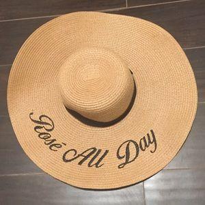 Accessories - Rose All Day Wine Lover Floppy Sun Beach Hat